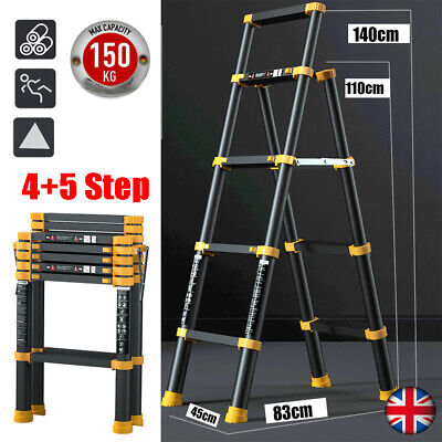 A-frame Folding Step Telescopic Ladder 4+5/5+6 Steps Multi-Purpose Aluminium