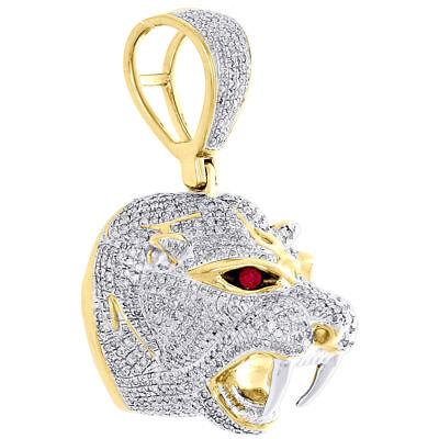 10K Yellow Gold Round Diamond 3D Panther Head Mount Pendant 1.75