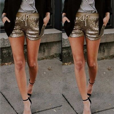 Fashion Women Sequins Shorts Mid Waist Sexy Pocket Shorts Causal Hot Pants