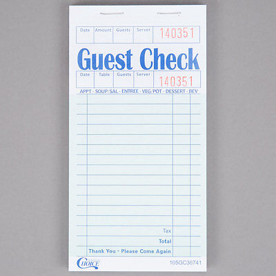 1 Part Green and White Guest Check with Beverage Lines & Guest Receipt - 50/Case