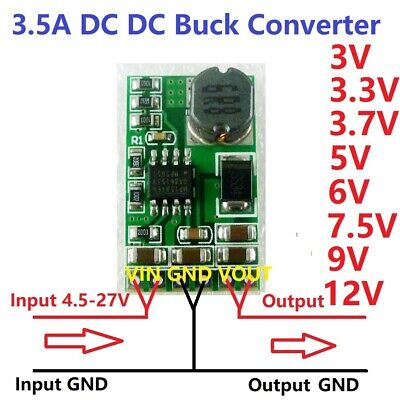 3.5a Dc Dc Buck Step-down Voltage Converter Module 3v 3.3v 3.7v 5v 6v 7.5 9v 12v