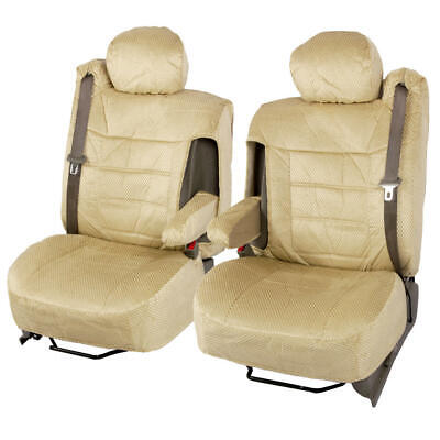 Luxurious Soft and Comfortable Custom Fit Poly-Cotton Seat Cover Set - Beige