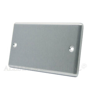 Satin Chrome Classical Blank Plate - Electrical Blanking Double 2G - CSC2GBP