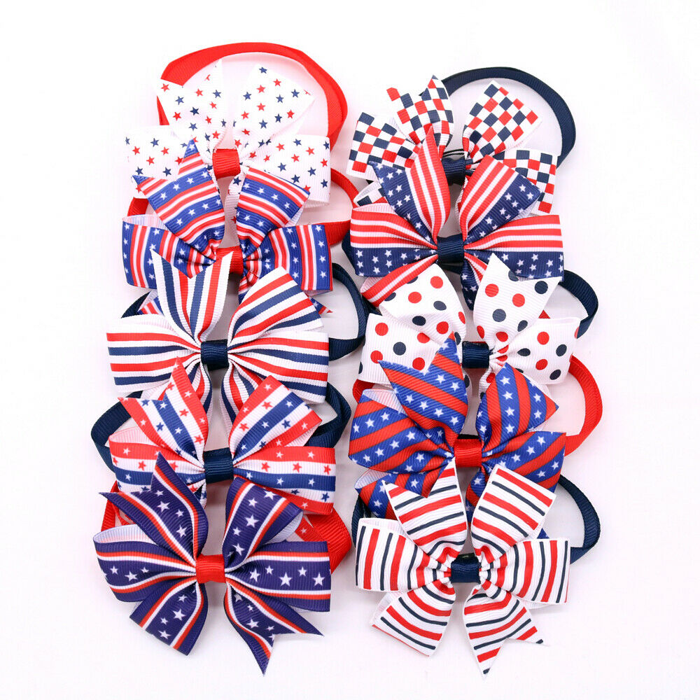 10PCS Pet Dog Cat Bowties&Bow tie for 4th of July/July 4 Dog