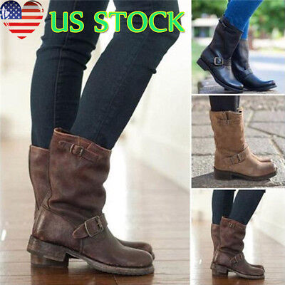 Women PU Leather Mid-Calf Boots Platform Chunky Riding Biker Shoes US Size 5-8.5