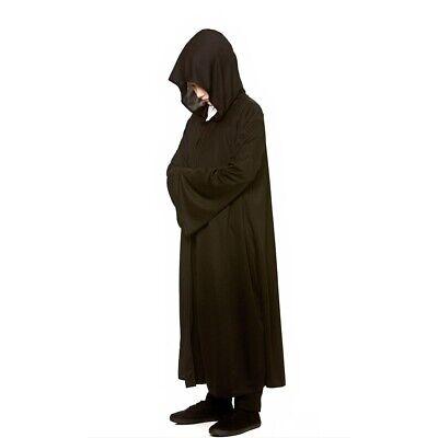 mit Kapuze Kostüm Mantel Halloween Sensenmann Jungen Mädchen (Kinder Schwarze Robe)