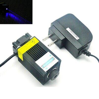 High Power 450nm 1w Blue Laser Module Focus Dot Head W 12v Adapter Cooling Fan