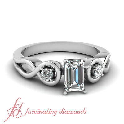 3 Stone Infinity Diamond Engagement Ring With Emerald Cut GIA Certified 0.90 Ct