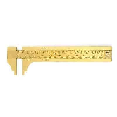 4 100mm Brass Caliper Sliding Vernier Ruler Gauge Gem Tool Bead Measuring Inch