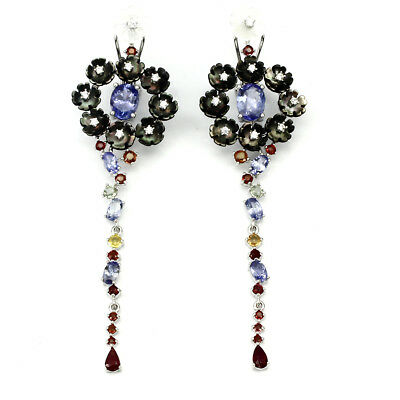 - NATURAL TANZANITE MOTHER OF PEARL RUBY  & SAPPHIRE 925 STERLING SILVER EARRINGS