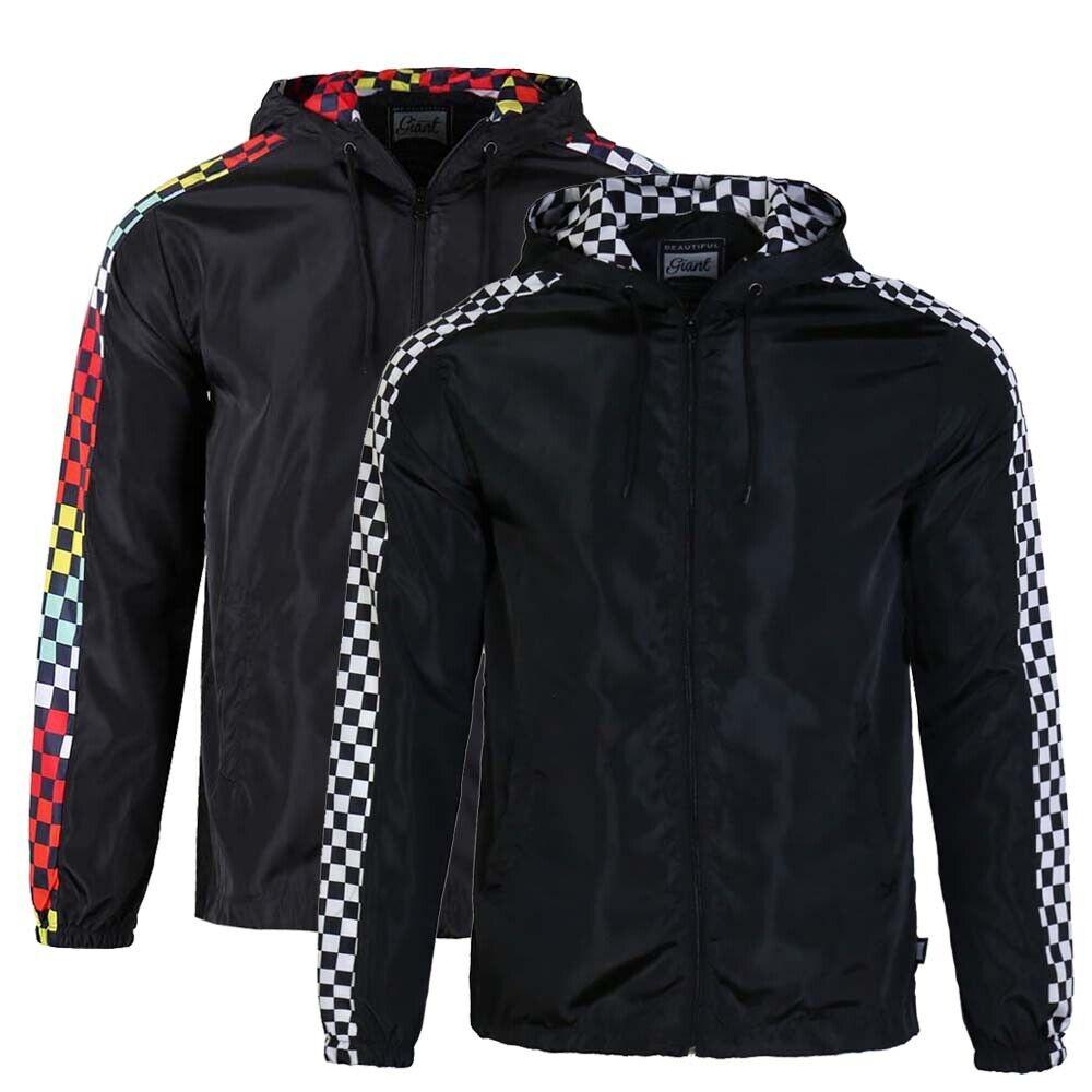 men s lightweight windbreaker checkered pattern outdoor