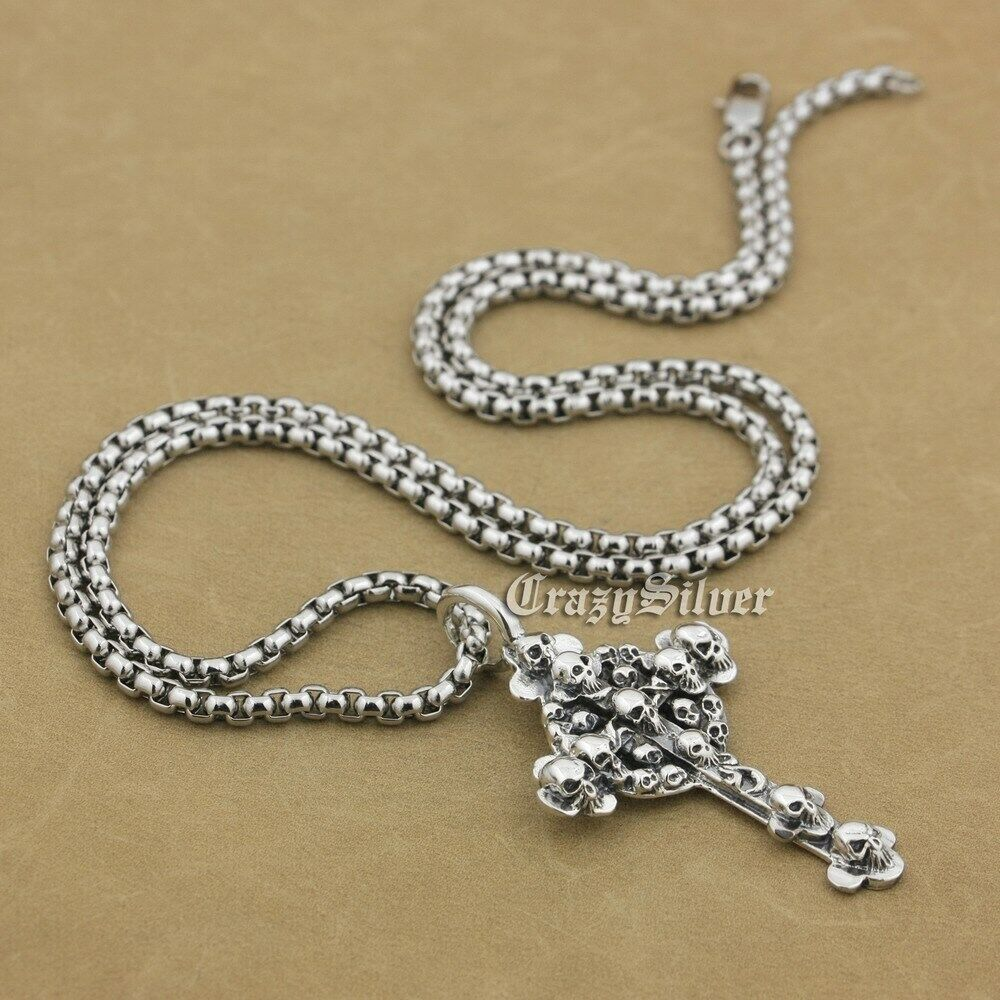 """Spanner Wrench 925 Sterling Silver Mens Biker Punk Pendant 8B013A Necklace 24/"""""""