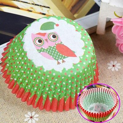 100x Disposable Owl Cake Baking Paper Cup Cupcake Muffin Cases fit Home Party - Owl Cupcake Papers