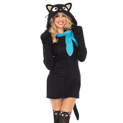 Hello Kitty Cozy Chococat Dress Adult Womens Costume, Black, Leg Avenue](Hello Kitty Costume Women)