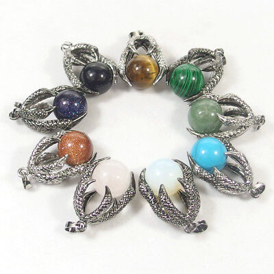 Natural Gemstone Beads Dragon Claw Pendant Necklace Agate Opal Jasper - Beads Necklace Natural Necklace