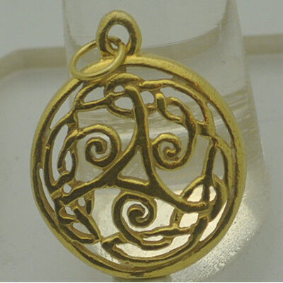 New CELTIC wicca TRISKELE Knot Real genuine Authentic 10kt gold charm Pendant