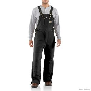 CARHARTT R03 ARCTIC-QUILT LINED DUCK BIB OVERALLS BLACK & BROWN ** ALL SIZES **