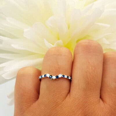 0.45 Ctw Round Blue Sapphire 14k White Gold Over Contour Wedding Guard Band Ring ()