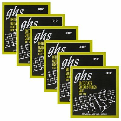 6 Sets of GHS 710 Brite Flats Flatwound Light Electric Guitar Strings 10-46