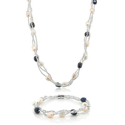 (Multi-Color 8X5mm Cultured Freshwater Pearl Twisted Necklace & Bracelet Set)