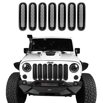 Abs Plastic Grille - 7Pcs ABS Plastic Insert Mesh Grille Grill Cover Fit Jeep Wrangler JK 2007-2015