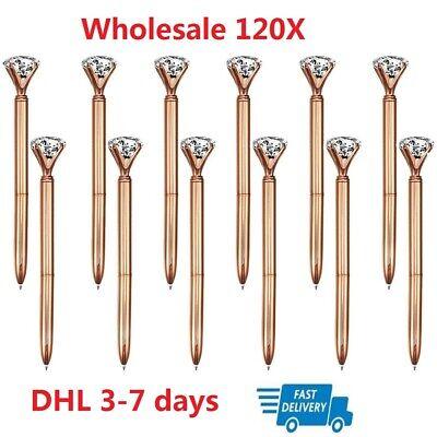Wholesale 120x Rosegold Big Diamond Crystal Ballpoint Pen Metal Stylusblack Ink