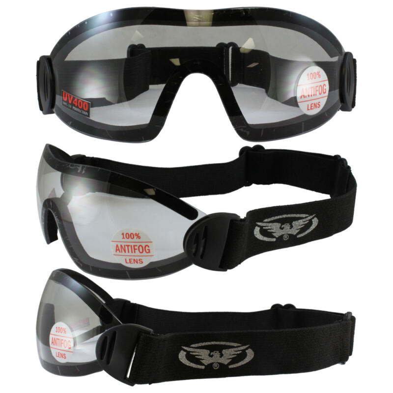 2 FLARE Goggles Motorcycle Riding Skydiving Googles Clear Lens Shatterproof