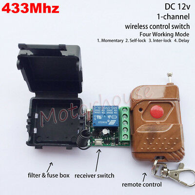 DC 12V Relay 1CH 433MHz Wireless RF Remote Control Switch Transmitter + Receiver