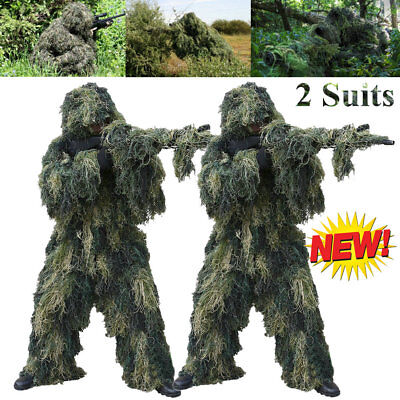 2 X Woodland Camouflage Camo Ghillie Suit Set 3D Jungle Forest Sniper Hunting AS