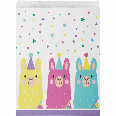 Llama Birthday Party Supplies PRETTY PASTEL LARGE PAPER TREAT FAVOR BAGS (Pretty Paper)