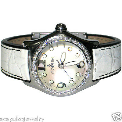 CORUM Bubble 39.250.20 Mother of Pearl Ladies Diamond Swiss Watch Pre-Owned