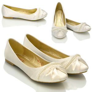 NEW-WOMENS-LACE-PEARL-WEDDING-BRIDAL-IVORY-WHITE-BALLERINA-FLAT-PUMPS-SHOES-SIZE