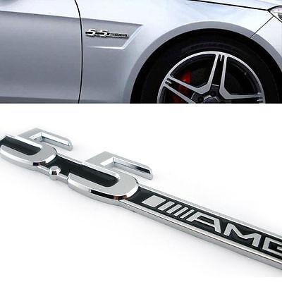 x2 5.5 AMG Side Fender Decal Chrome Alloy Silver Logo Badge Sticker For Mercedes