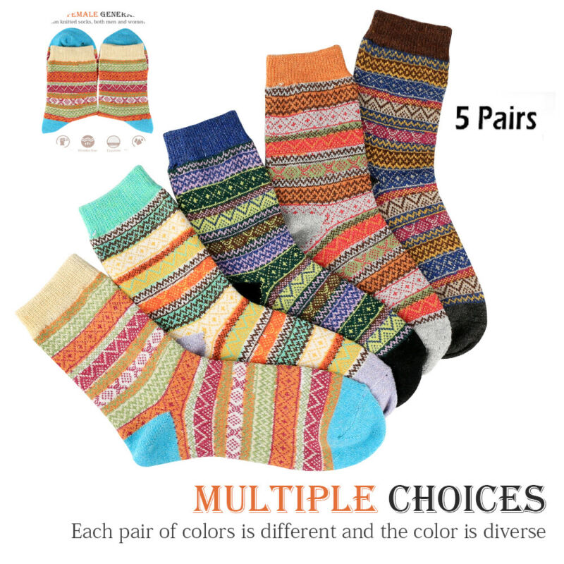 5 Pairs Women Wool Cashmere Lady Thick Winter Socks Warm Soft Casual Sock US