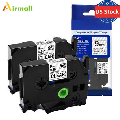 2PK TZ-121 Compatible Brother P-Touch TZ Tape TZe-121 Black on Clear Label 9mm