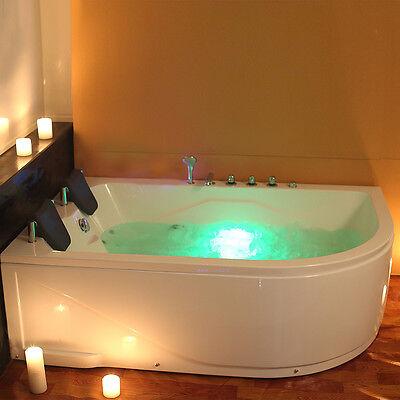 Whirlpool Corner Bath Shower Spa Jacuzzi Straight 2 person double Bathtub 1800MM