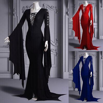 Damen Mittelalter Partykleid Gothic Kostüm Kleider Ballkleid Vintage Maxikleid