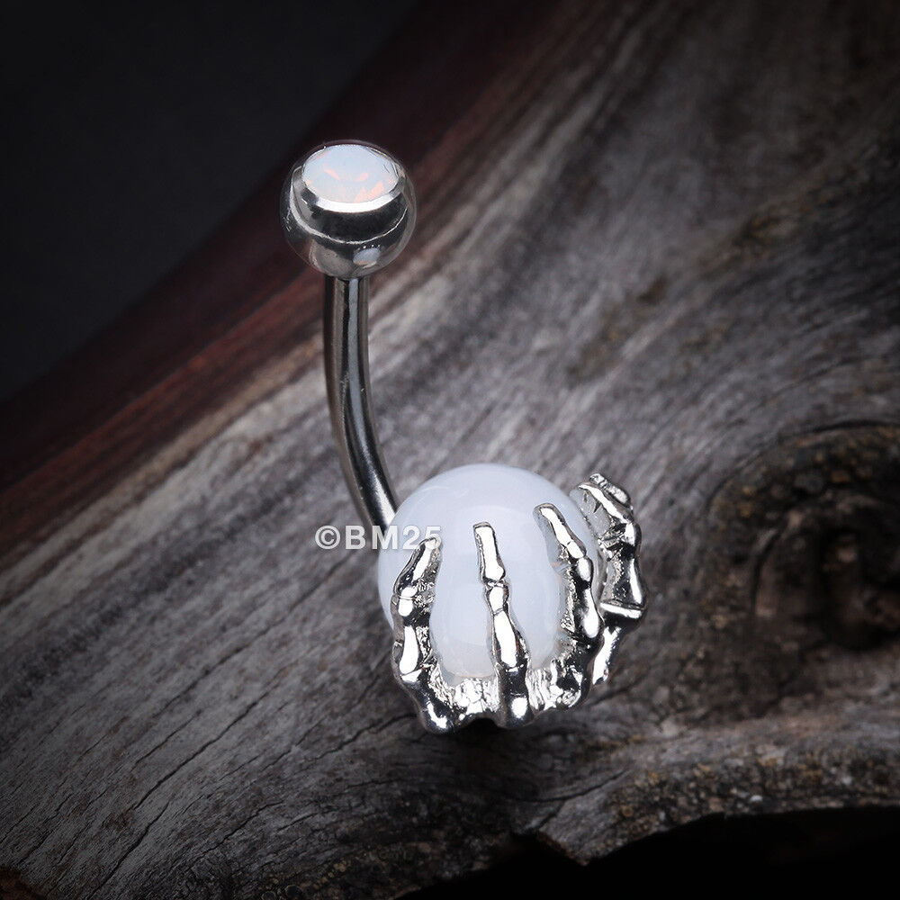 34ca3f7a00d Details about Moonstone Orb Shine Skeleton Hand Belly Button Ring