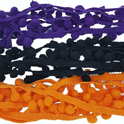 3 x 1 Metre Pom Pom Trimming Ribbons Laces Sewing Costume DIY Dress Halloween