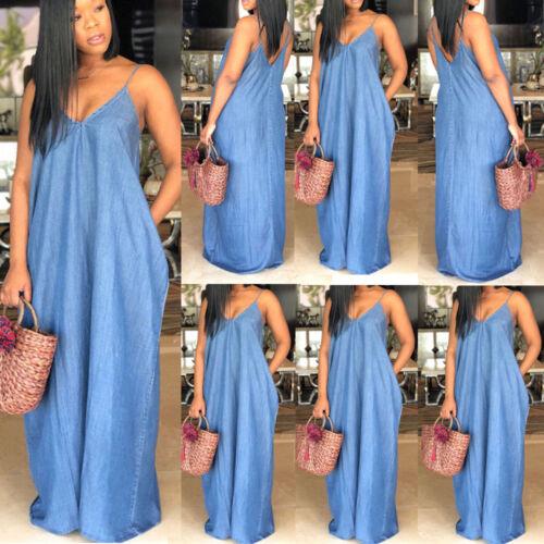 Details about US Plus Size Boho Backelss Long Denim Maxi Dress Women Loose  Jean Dress 3XL