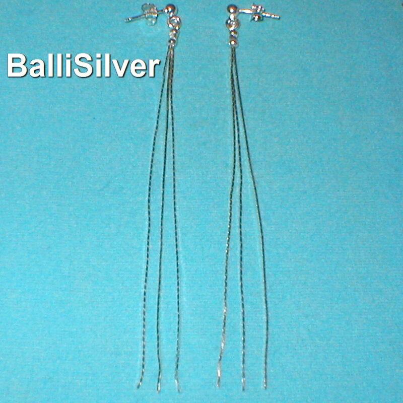 4 pairs Sterling Silver 925 Diamond Cut Chains LONG DANGLE EARRINGS