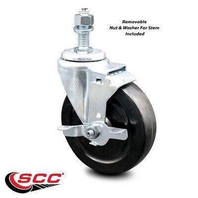 Hard Rubber Swivel Ts Caster W5 Wheel 12 Stem Wbrake