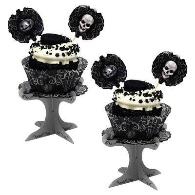 4 Gothic Fright Night Skull Terror Halloween Party Mini Cupcake Cake - Halloween Monster Party Night