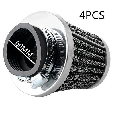 4X 60mm Inlet Tapered Motorcycle ATV Cold Air Filter Cone Pod Metal Custom Fit