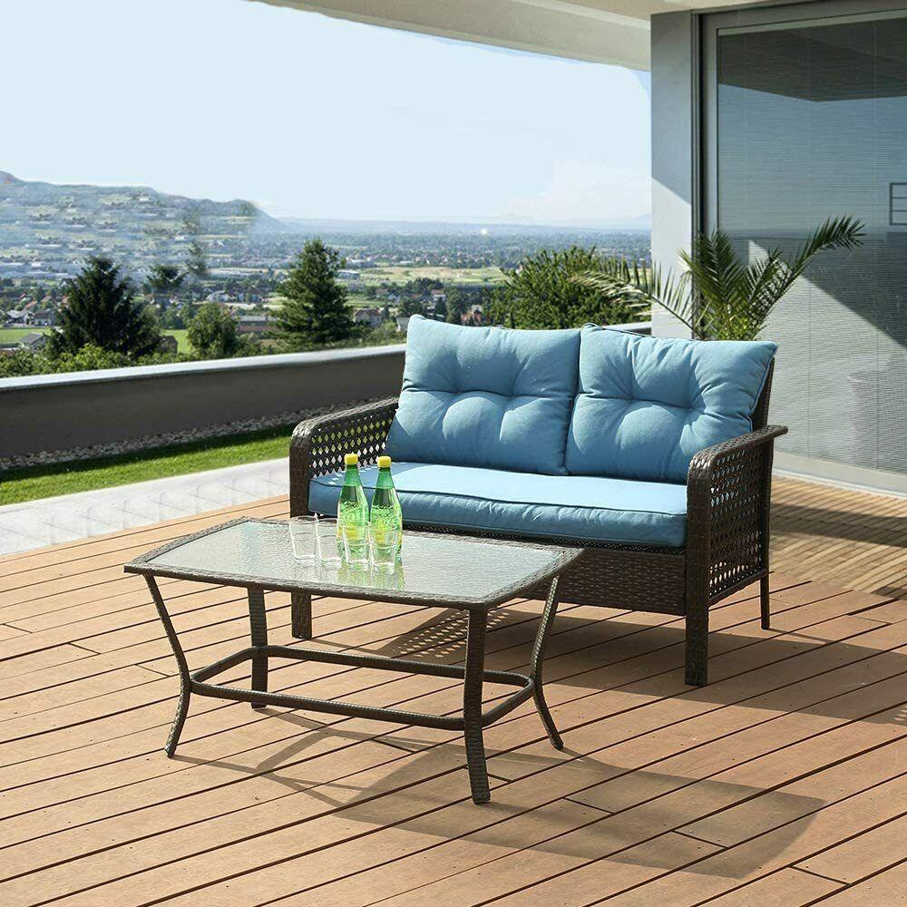 Garden Furniture - 2 Pcs Outdoor Patio Sofa Set Rattan Wicker Furniture Padded Chair Home Garden US