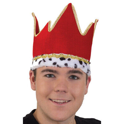 Royal Crown Hat Red & Gold King or Queen Adult Halloween Costume Headwear
