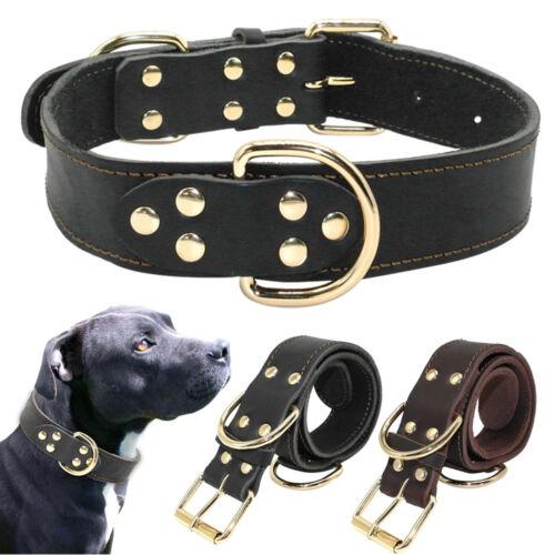 Black Leather Large Dog Collars Plain Dog Collar Neck Buckle