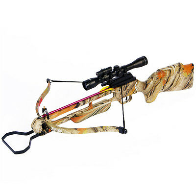 150 lb Autumn Camouflage Pre-Strung Hunting Crossbow Bow +4x20 Scope +12 Arrows