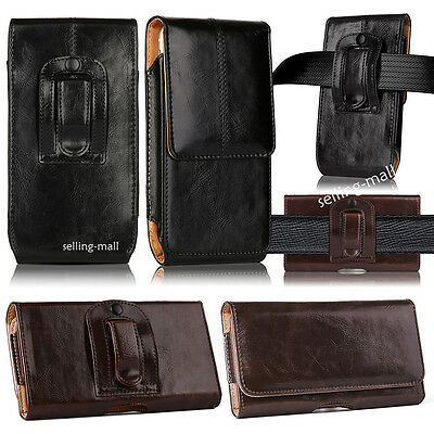 Leather Rugged Cell Phone Case Pouch Holster Clip Belt Loop Carrying Cover (Cellular Phone Leather Carrying Case)