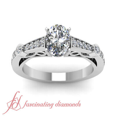 1.20 Ct Oval Shaped Diamond Pave Set Engagement Rings For Women SI1-E Color GIA 1